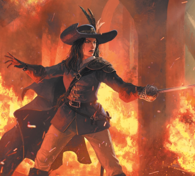 Image of a woman in swashbuckling garb with her sword at the ready. The building around her is on fire, but she seems focused on her unseen adversary. Her hat is magnificent. (Image clipped from Chapter 3 of the 7th Sea corebook)