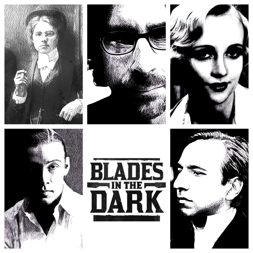 Stylized Black and white images of the player characters around the Blades in the Dark logo