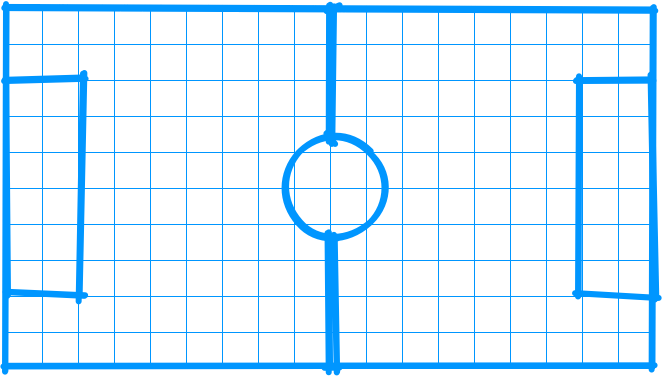 Simple diagram of a soccer field overlaid on graph paper